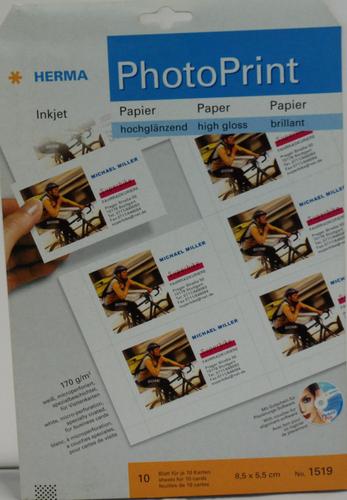 Herma 1519 10 Blatt Hochglanz Visitenkarten 5 5 X 8 5cm